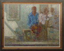 AR John Miller, RSA, PRFW, SSA, (1911-1975) Self portrait oil on canvas, signed lower right, 69 x