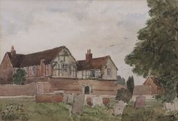 """E W Wimperis (1865-1946) """"The Old Rectory"""" watercolour, initialled to gravestone, 16 x 23cm"""
