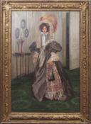 """Freda Hansard (1871-1937) """"Priscilla"""" oil on canvas, signed lower right, 90 x 59cm, label verso"""