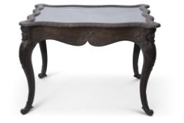 19th century Continental ebonised framed large bijouterie table of serpentined rectangular form,