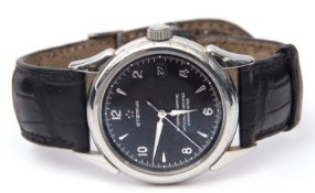 Gent's first quarter of 21st century stainless steel cased Eternamatic chronometer with silvered and
