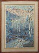 "Kawase Hasui (1883-1957) ""Takegawa River at dawn"" coloured woodblock, 36 x 24cm"