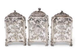 Fine set of three early George III tea caddies of bombe sided rectangular and square form, each