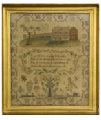 E Jane Holmden (1814) silk work sampler featuring a country house to top above a religious verse