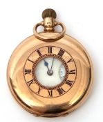 Gent's first quarter of 20th century 9ct gold cased half hunter pocket watch with button wind (