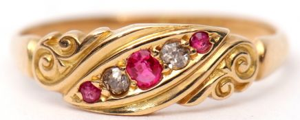 Early 20th century 18ct gold, ruby and diamond ring, alternate design set with three graduated