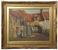 AR John Guthrie Spence Smith (1880-1951) Street scene with mother and child oil on board, signed