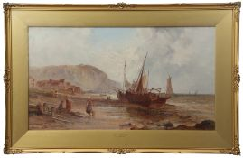 """Alfred Pollentine (1836-1890) """"Near Porbel, France"""" and """"On the Normandy coast"""" pair of oils on"""