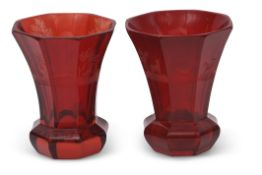 Pair of Bohemian ruby red vases of octagonal shape, the vases engraved with various hunting subjects