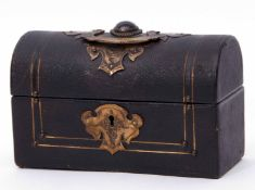 Late 19th century brass mounted travelling desk ink set casket