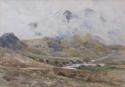 Edmund Morison Wimperis (1835-1900) Mountain landscape watercolour, indistinctly inscribed lower