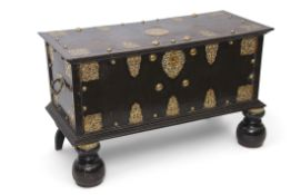 18th century Ceylonese hardwood storage chest with decorative pierced and etched brass mounts with