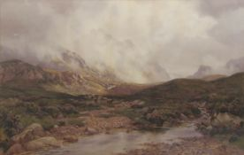 Percy Dixon (1862-1924) Extensive mountain landscape with cattle watercolour, signed lower right, 60