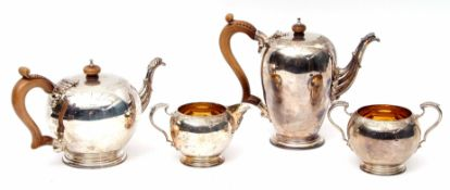 Good quality four-piece tea and coffee service of circular baluster form comprising coffee pot and