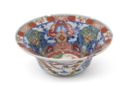 Late 17th century Chinese porcelain Wucai bowl, decorated in underglaze blue with overglaze