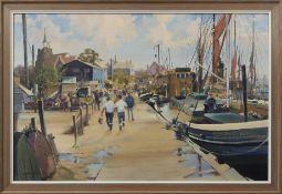 "Gordon Hereward Hales, RSMA, FRSA (1916-1997) ""Hythe Quay, Maldon"" oil on board, signed and dated 73"