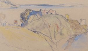 """David Young Cameron (1865-1945) """"Urquhart"""" pencil and watercolour, signed lower left, 18 x 30cm"""