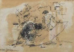 """AR Roberto Domingo (1883-1956) Matador with bull pen, ink and wash, signed lower left, inscribed """"D."""