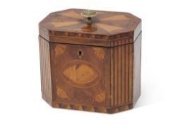 Late 18th/early 19th century marquetry inlaid mahogany caddy box of canted rectangular form with