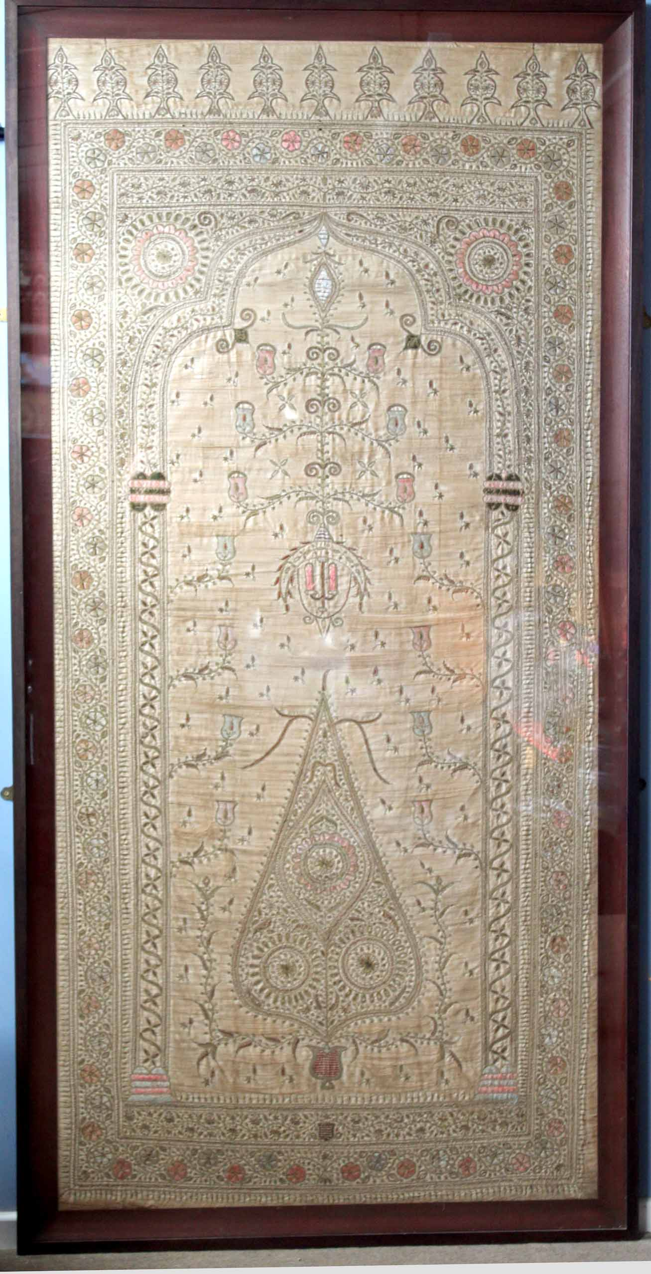 Lot 719 - Large silk and gilt filigree embroidered wall hanging or table cloth of Persian or Oriental