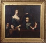 Circle of Jakob van Loo (1614-1670) group portrait of a lady with three children, three quarter