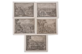 Pieter van der Borcht (1545-1608) Biblical scenes group of five black and white etchings, 19 x 25cm,