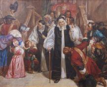 Edmund Matthew Ward, RA (1816-1879) Interior scene with Dr Johnson and entourage watercolour, signed