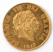 George III gold half sovereign dated 1817, Laureate head right, with date below, verso with a crown,