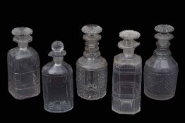 Group of cut glass decanters mid to late 19th century, (5)
