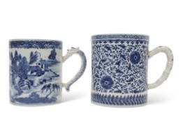 Two 18th century Chinese porcelain tankards, the larger with Ming style scrolling design, together