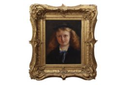 English School (19th century) Head and shoulders portrait of a young girl oil on canvas, 43 x 35cm