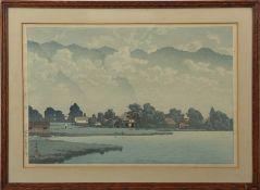"Kawase Hasui (1883-1957) ""Lake Kizaki in rain"" coloured woodblock, 24 x 36cm"