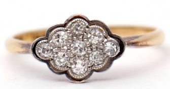 Art Deco diamond cluster ring, a shaped oval design featuring nine single cut diamonds, stamped