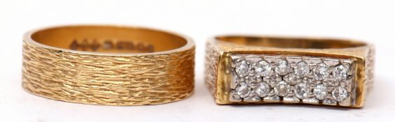 Mixed Lot: 18ct gold and diamond ring, a stylised textured design featuring a bridge of 12 small