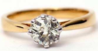Single stone brilliant cut diamond ring, 0.82ct approx, multi-claw set and raised in a coronet