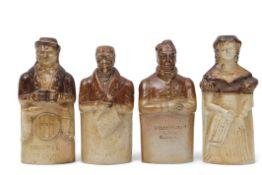 Group of four saltglaze reform flasks, Bourne Potteries, Denby and Codnor Park, Derbyshire,