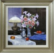 """AR Ian Piper (born 1941) """"The Table Lamp and vase of flowers"""" oil on board, signed lower right and"""