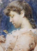 Adriano Cecchi (1850-1936) Italian beauty watercolour, signed lower right, 29 x 22cm
