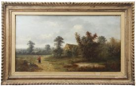 Charles Vickers (19th/20th century) Figure in landscape with cottage oil on canvas, monogrammed