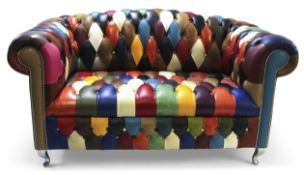 21st century designer Chesterfield arch back sofa, upholstered in multi-coloured leather harlequin