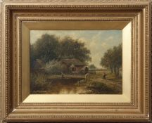 Joseph Thors (act 1863-1900) Rural landscapes pair of oils on panel, both signed, 24 x 34cm (2)