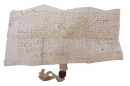 Indenture relating to John Hill, dated 1589, with wax seal