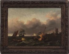 Charles Martin Powell (1775-1824) Shipping off a harbour with windmill oil on canvas, 54 x 74cms NB: