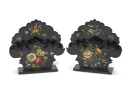 """Pair of black lacquered floral decorated letter racks of shaped form, stamped """"Jennens &"""