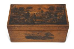 19th century satinwood caddy box of rectangular form, the lid well decorated with sporting scene