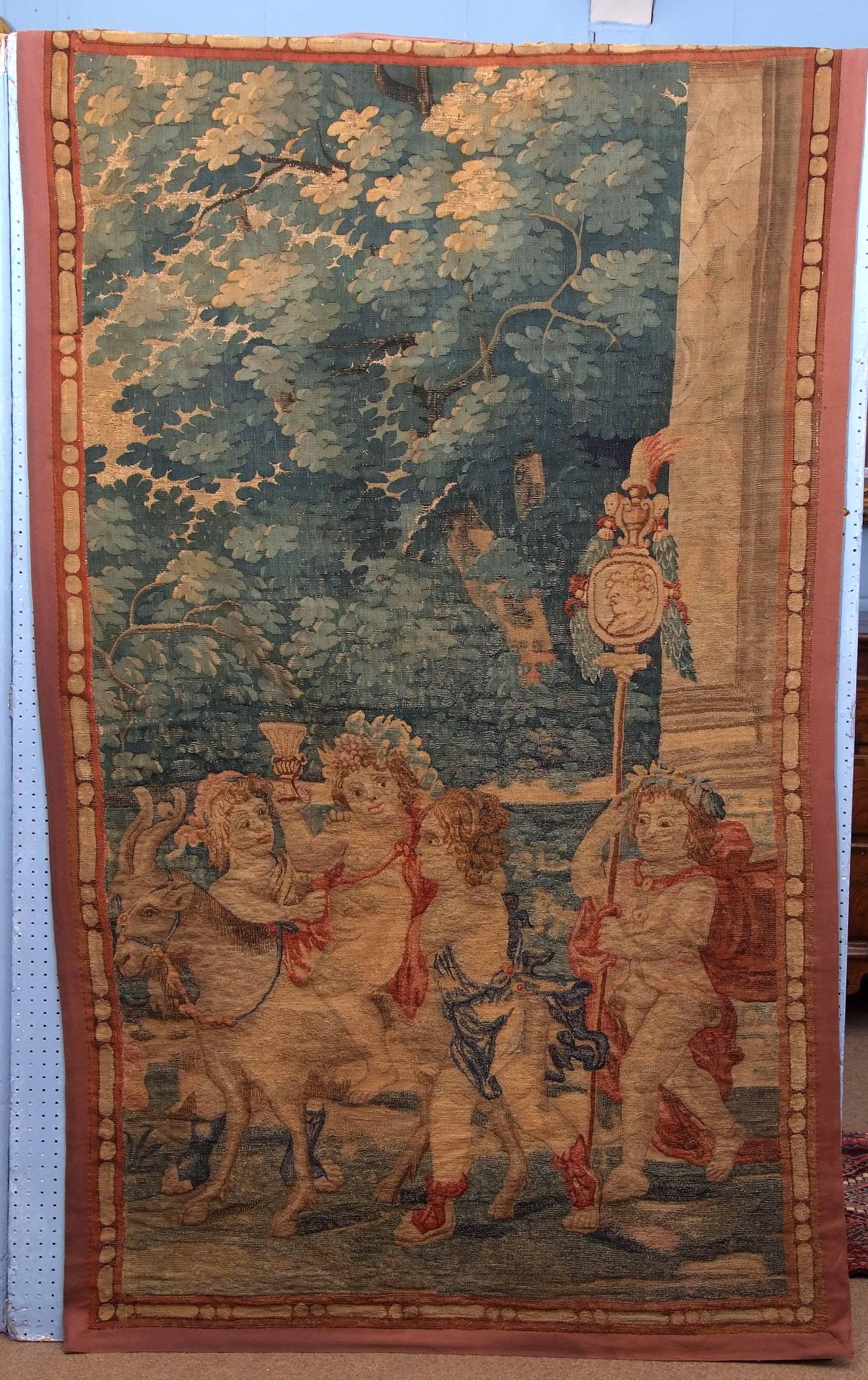 Lot 725 - 18th/19th century needlework tapestry, Bacchanalian Procession, 190 x 115cm
