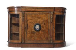 19th century walnut credenza with satinwood inlay and decorative brass mounts, fitted centrally with