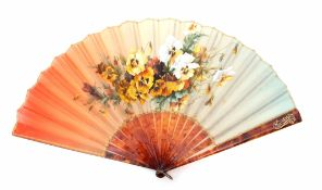 19th century hand painted (on silk) fan, signed MC Phillipe of pansies, having tortoiseshell type