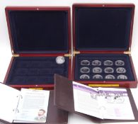 London Mint Office History of the Royal Navy part set of 13 silver proof coins, cased, with folder