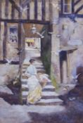 """David Woodlock (1842-1929) """"Old Chester"""" watercolour, signed and inscribed lower left, 28 x 19cm"""